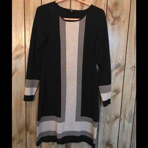 I.N.C Black with Beige & Gray Sweater Dress M
